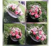 Нежная корзина из розы и гипсофилы!