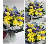 Stylish and bright bouquet in yellow and purple shades!