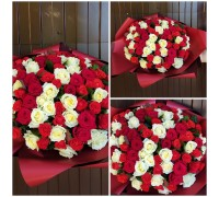 Bouquet of 101 white and red roses 40 cm!