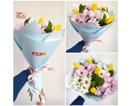 A bouquet of yellow tulips and Bush chrysanthemums!