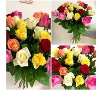 Bright bouquet of 25 roses 50 cm!
