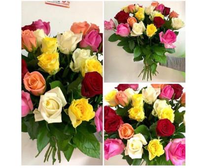 Bright bouquet of 25 roses 50 cm!