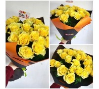 27 yellow roses 60 cm in a bright package!