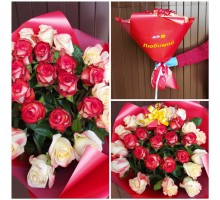 A bouquet of 25 red and white roses for your favorite!
