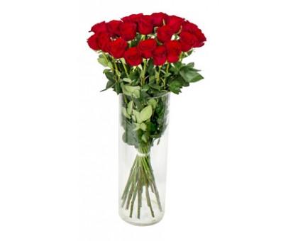 21 Красная роза 40 см в вазе. Букет из красных роз в вазе 21 шт. (Голландия)
