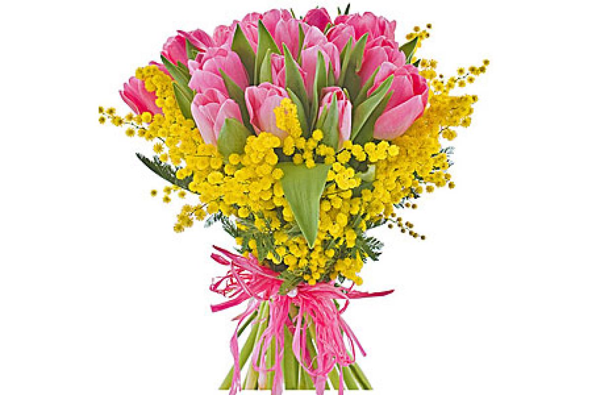 С 8 марта картинки с мимозой и тюльпанами