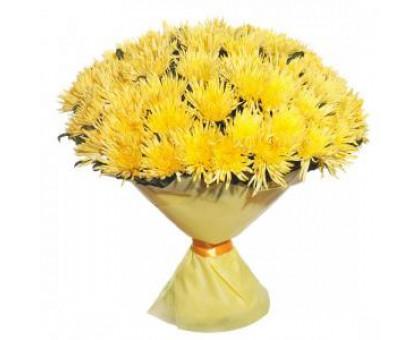 Хризантема желтая 25 шт. Букет желтых хризантем 60 см.