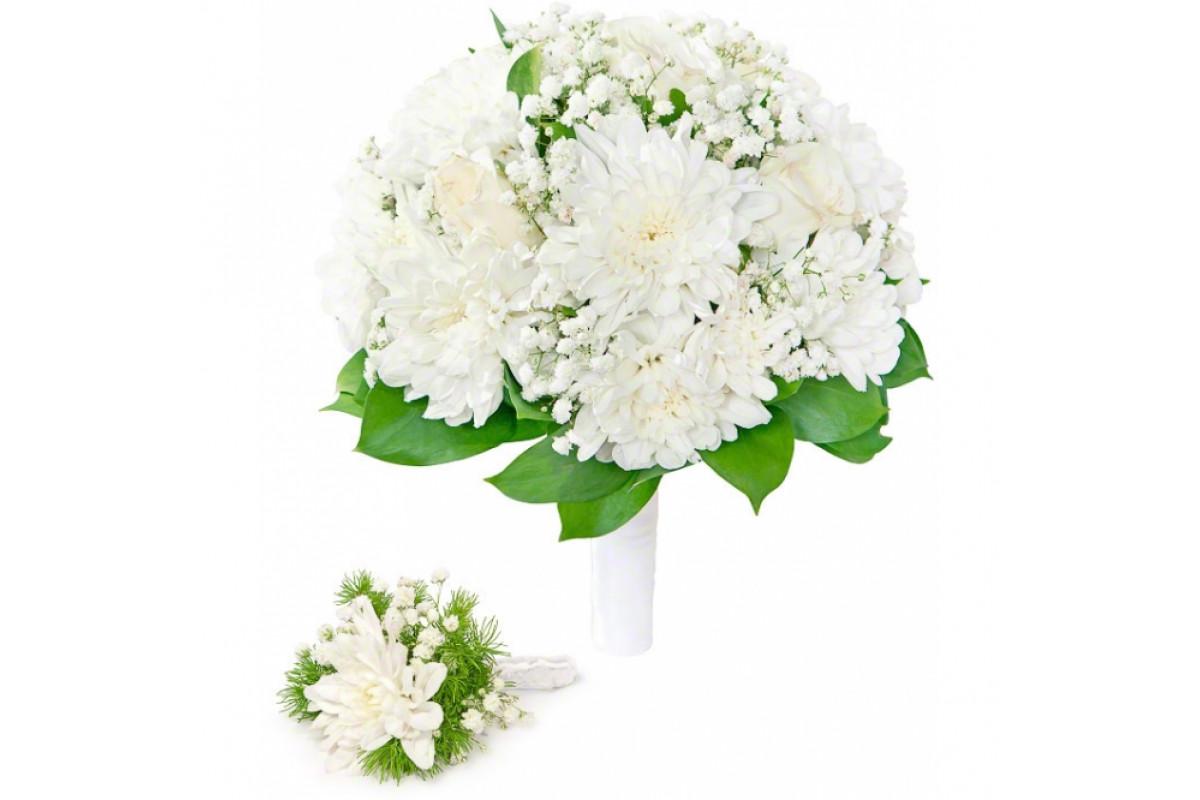 Большой букет на свадьбу с игольчатой хризантемой, синих