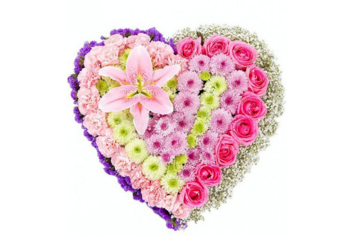 Ребенка букет, букет для любимой в виде сердца из хризантемы