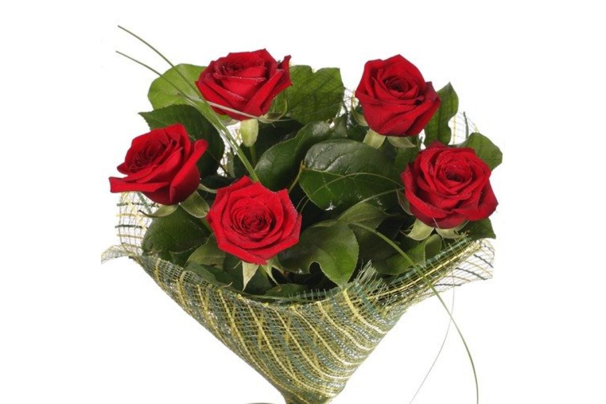 Цветов комнатных, оформить букет из 5 роз