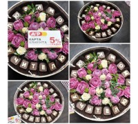 Arrangement of spray roses and chocolate letters!