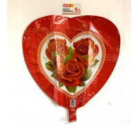 Foil balloon heart with roses.