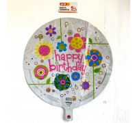 "Foil ball ""Happy Birthday"" with flowers"