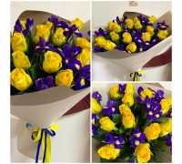 Bouquet of yellow roses and purple irises!