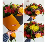 Bright bouquet of roses, chrysanthemums, alstroemeria!