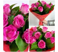 Bouquet of pink roses with greenery!