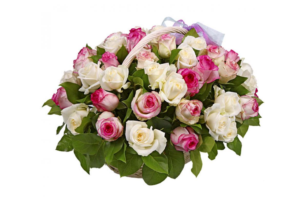 Открытка корзина роз с днем рождения, цветы рисунок