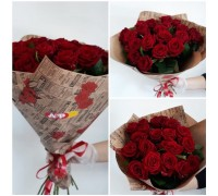 19 red roses in kraft packaging!
