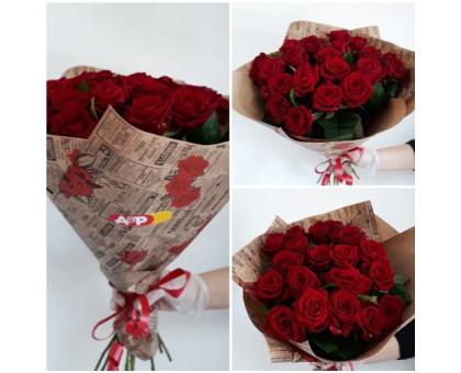 19 red roses in kraft packaging!
