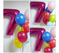 Composition of numbers 7 and helium balloons!