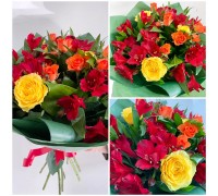 Bright bouquet of roses, alstroemeria and spray roses!