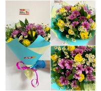 Bright bouquet of chrysanthemums, tulips and daisies!