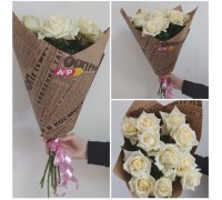 Bouquet of white roses in craft!