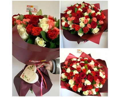 101 roses mix of flowers 40 cm.