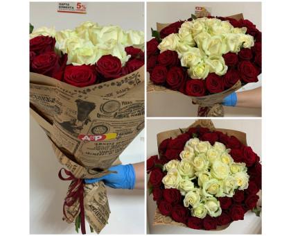 51 rose white-red rose!