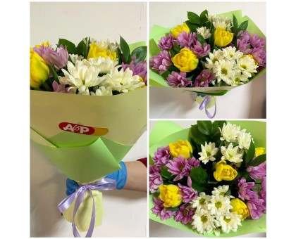 Bouquet of yellow tulips and delicate chrysanthemum!