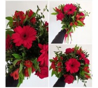 Bright bouquet of gerbera, roses and alstroemeria!