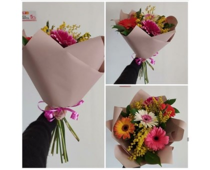 Spring frivolous bouquet with sunny mimosa and delicate gerberas!