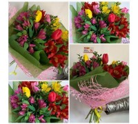 Bright bouquet of tulips and alstromeries!