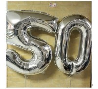 "Foil numbers ""50"" in color ""silver"" for the anniversary!"