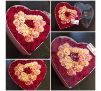 Chic composition in a heart box!