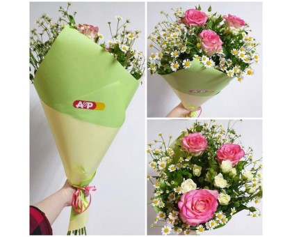 Bouquet of roses, chamomiles and spray roses!
