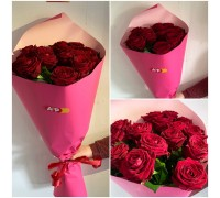 15 red roses in gentle craft!