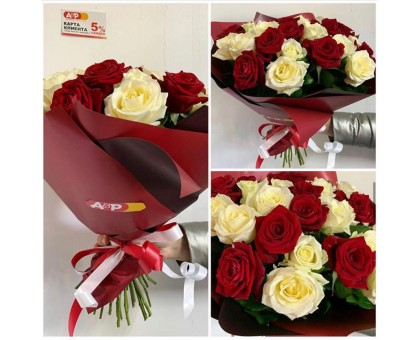 31 white and red rose 40 cm!