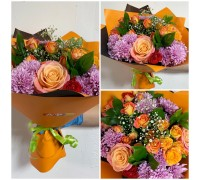 Bright bouquet of roses, chrysanthemums, spray roses!