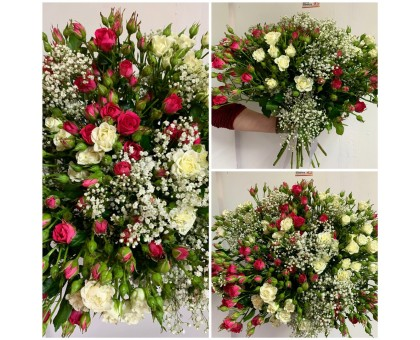 A bouquet of white and pink spray roses with gypsophila!