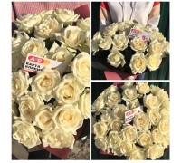 35 white roses 60 cm. In kraft packaging!