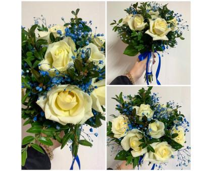 Bridal bouquet in blue shades!