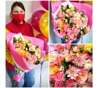 Bright mix bouquet in delicate packaging!