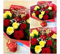 Bouquet of 15 red-yellow roses!