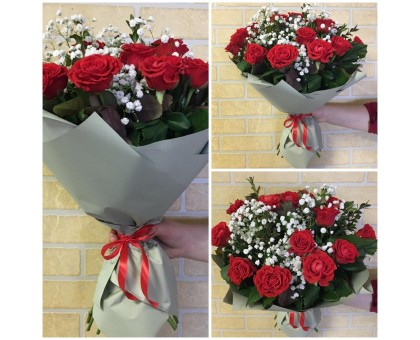 Bouquet of roses and gypsophila!