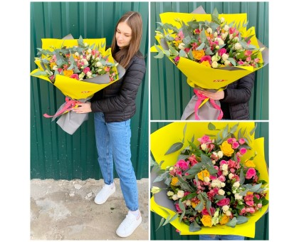 A bouquet of spray roses, roses and alstroemeria!