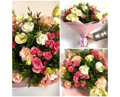 A chic bouquet of eustoma and Bush roses with the addition of boxwood!