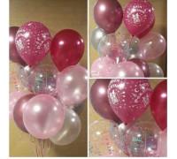"Balloons "" Happy Birthday!"" in pink tones."