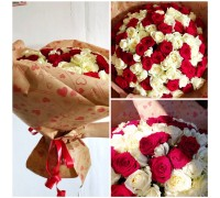 101 red and white roses 40 cm!
