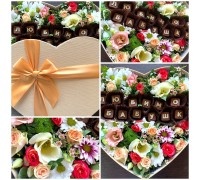 "A beautiful composition of flowers and chocolate letters for"" my Beloved grandmother""!"